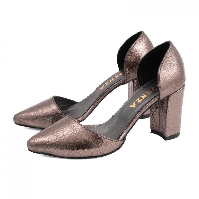 Pantofi stiletto decupati (interior/exterior),realizati din piele laminata bronz crapat 1