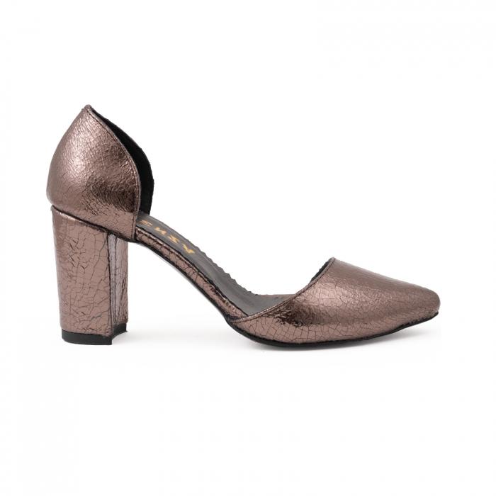 Pantofi stiletto decupati (interior/exterior),realizati din piele laminata bronz crapat 0