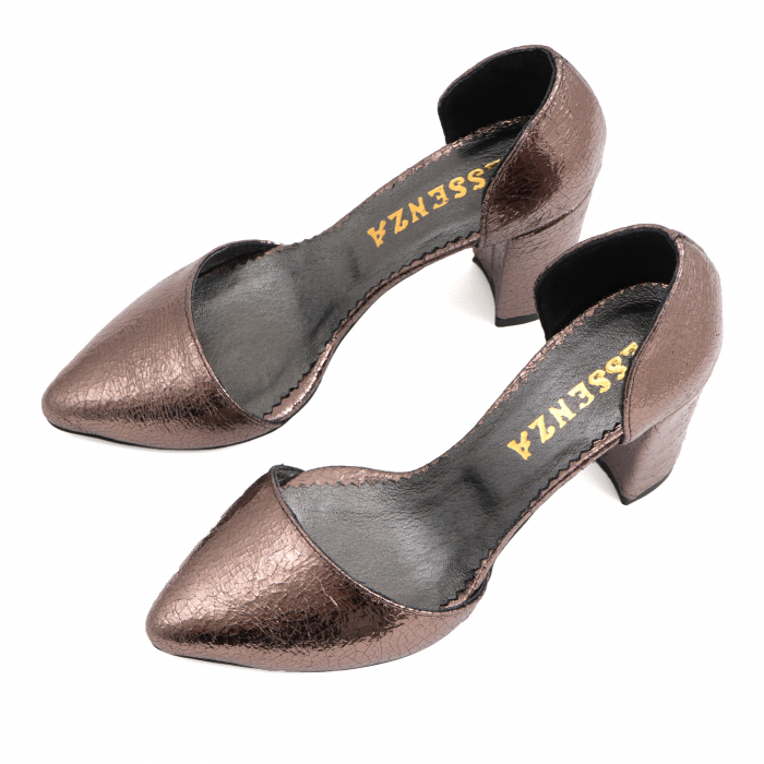 Pantofi stiletto decupati (interior/exterior),realizati din piele laminata bronz crapat 3