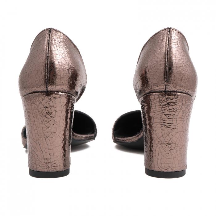 Pantofi stiletto decupati (interior/exterior),realizati din piele laminata bronz crapat 4