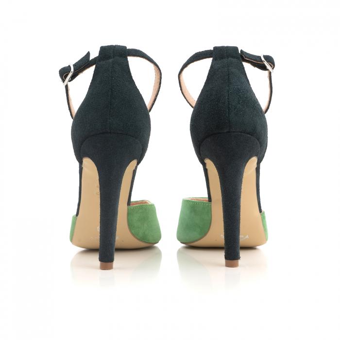 Pantofi stiletto decupati, realizati din piele naturala intoarsa verde inchis si verde menta 3
