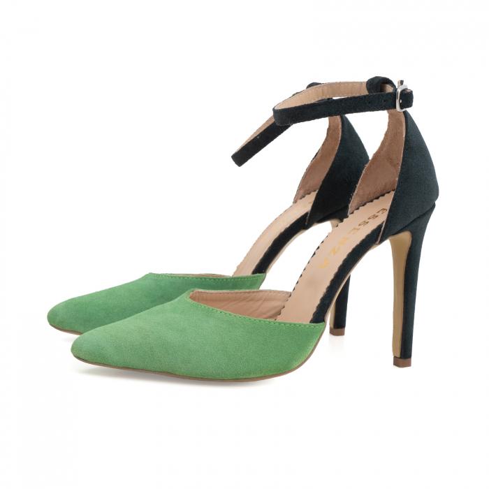 Pantofi stiletto decupati, realizati din piele naturala intoarsa verde inchis si verde menta 1