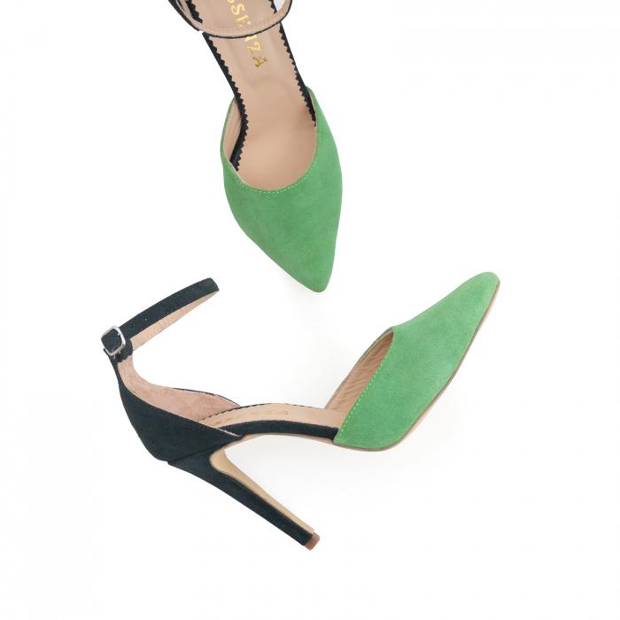 Pantofi stiletto decupati, realizati din piele naturala intoarsa verde inchis si verde menta 2