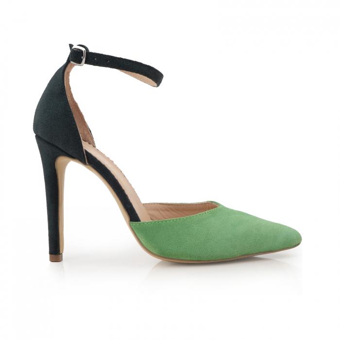 Pantofi stiletto decupati, realizati din piele naturala intoarsa verde inchis si verde menta 0