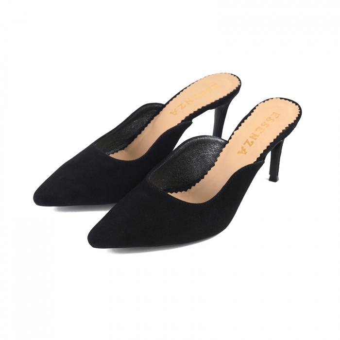 Pantofi stiletto decupati, tip sabot,  din piele intoarsa neagra 1