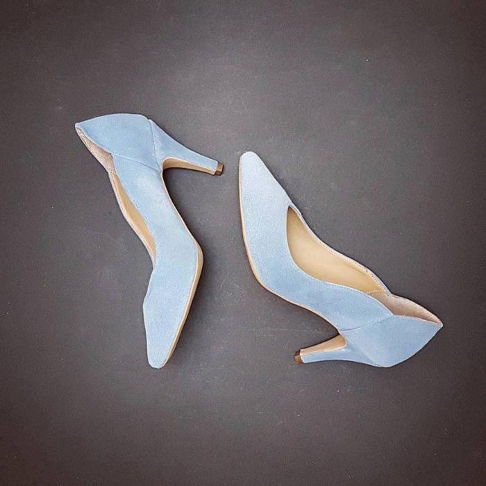 Pantofi stiletto din piele albastra intoarsa 5
