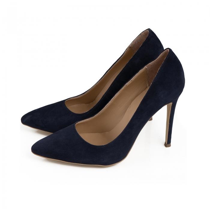 Pantofi Stiletto din piele intoarsa albastru inchis 1