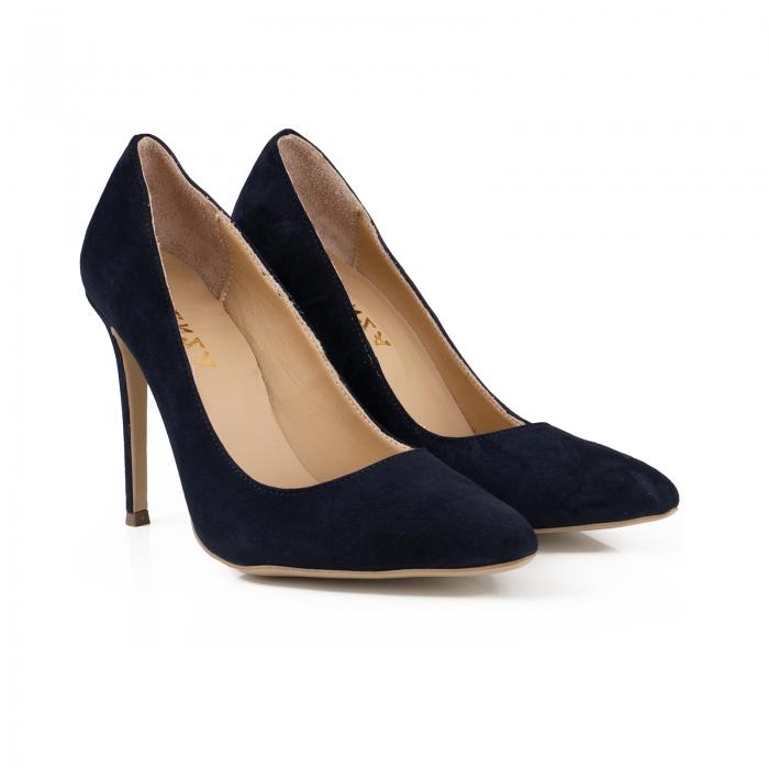 Pantofi Stiletto din piele intoarsa albastru inchis 2