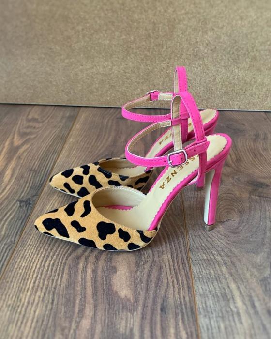 Pantofi stiletto din piele intoarsa cu animal print si piele nabuc roz ciclam [0]