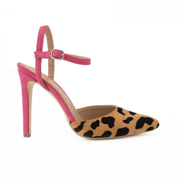 Pantofi stiletto din piele intoarsa cu animal print si piele nabuc roz ciclam. 0