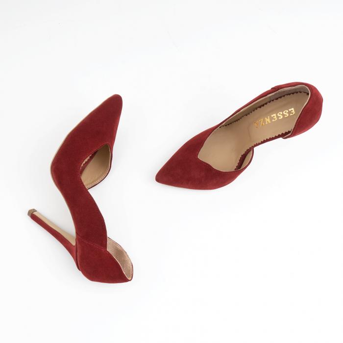 Pantofi stiletto din piele intoarsa de culoare rosu-burgund 2