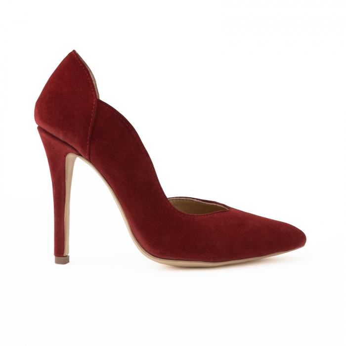Pantofi stiletto din piele intoarsa de culoare rosu-burgund 0