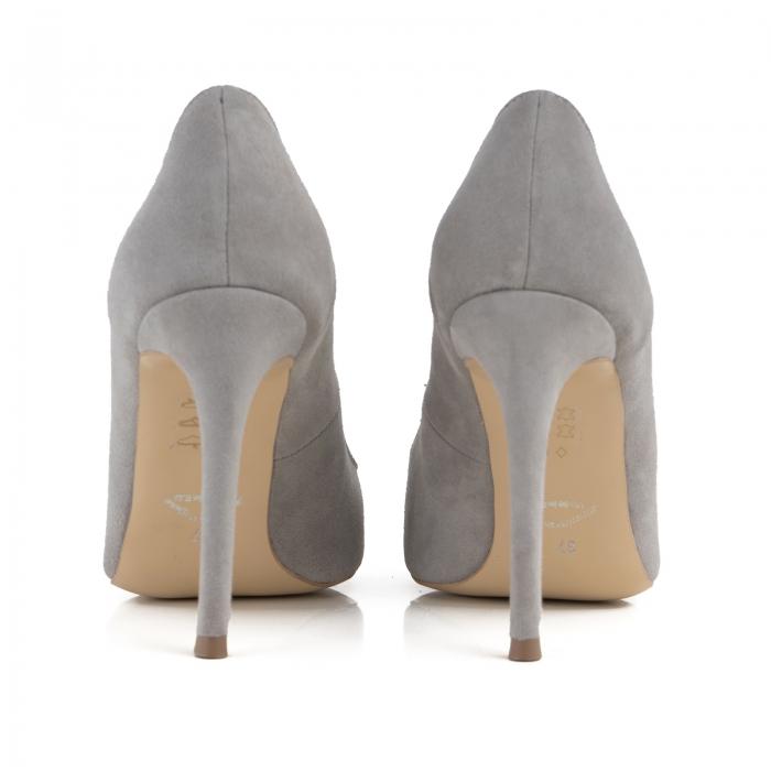 Pantofi Stiletto din piele intoarsa gri [3]