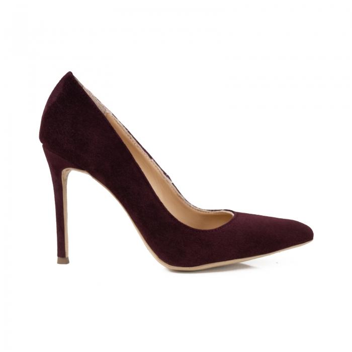 Pantofi Stiletto din piele intoarsa mov 0