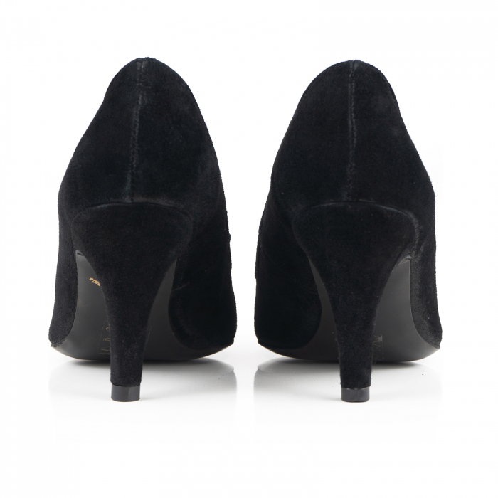 Pantofi stiletto din piele intoarsa neagra 3