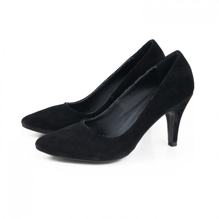 Pantofi stiletto din piele intoarsa neagra 1