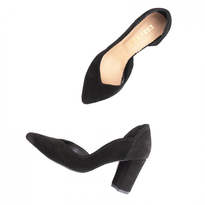 Pantofi stiletto din piele intoarsa neagra, cu decupaj interiorintr-o linie eleganta 3