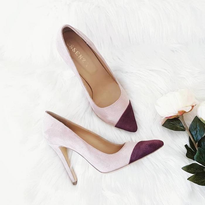 Pantofi stiletto din piele intoarsa roz si visinie 3
