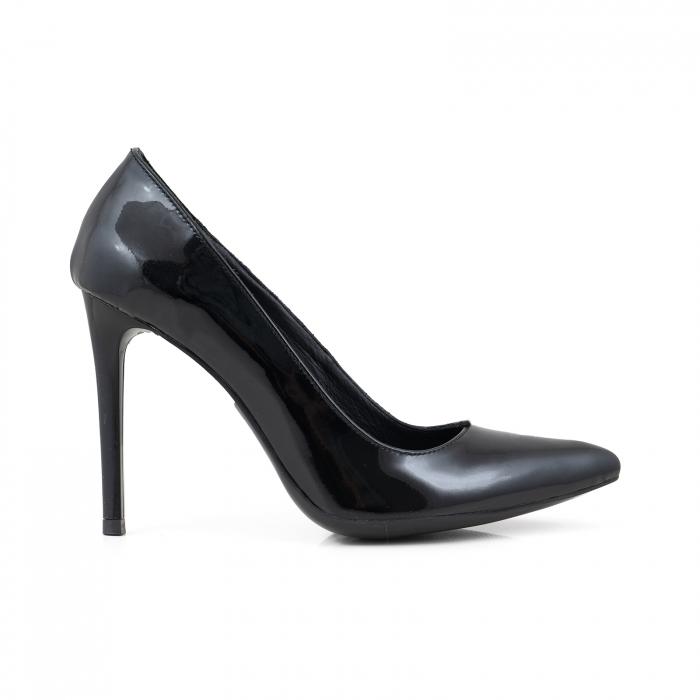Pantofi Stiletto din piele lacuita neagra 0