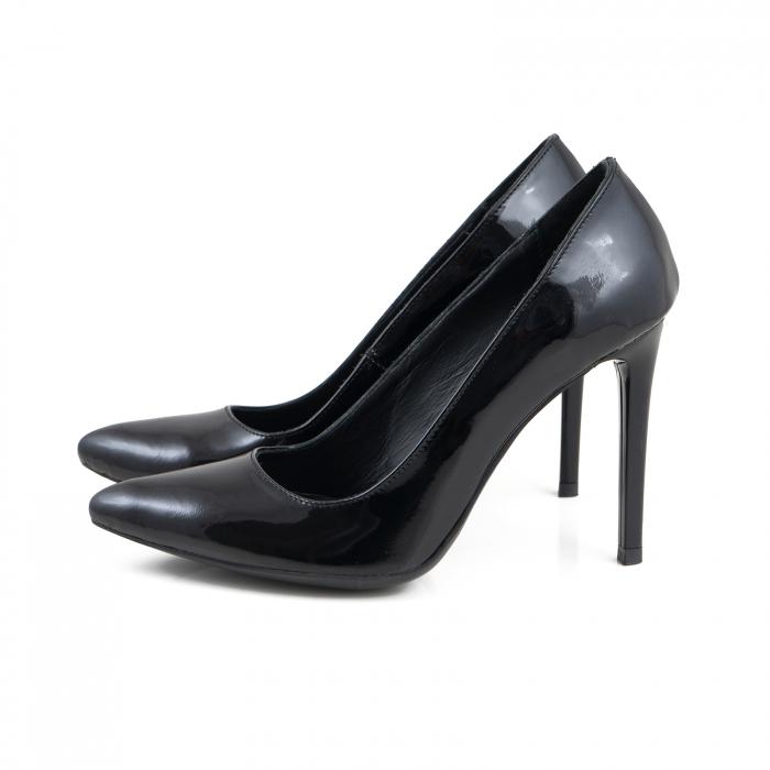 Pantofi Stiletto din piele lacuita neagra 2