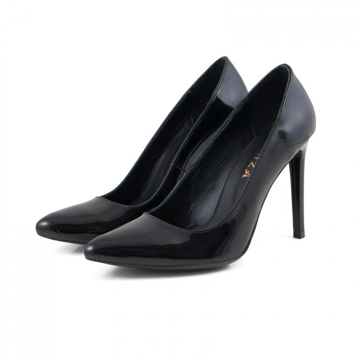 Pantofi Stiletto din piele lacuita neagra 1