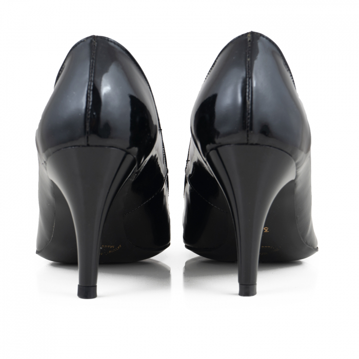 Pantofi stiletto din piele lacuita neagra 4