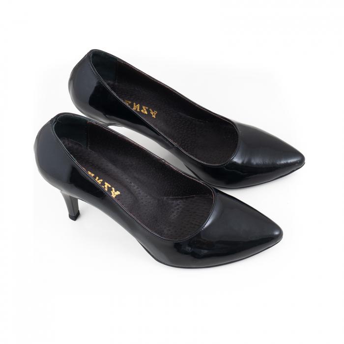 Pantofi stiletto din piele lacuita neagra 3
