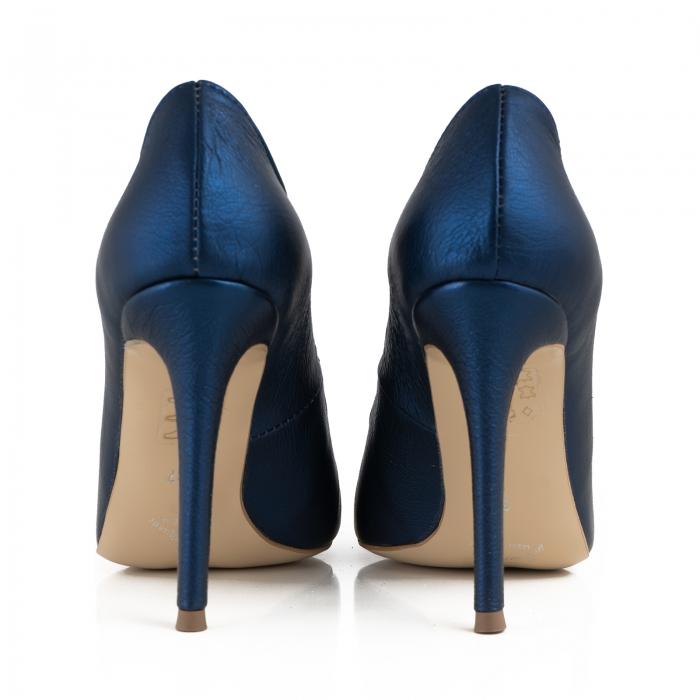 Pantofi Stiletto din piele laminata albastru metalic [3]