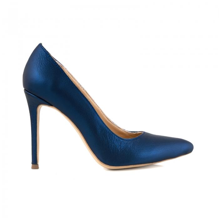 Pantofi Stiletto din piele laminata albastru metalic 0
