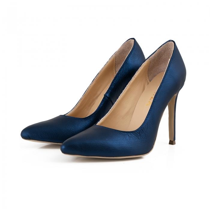 Pantofi Stiletto din piele laminata albastru metalic [2]