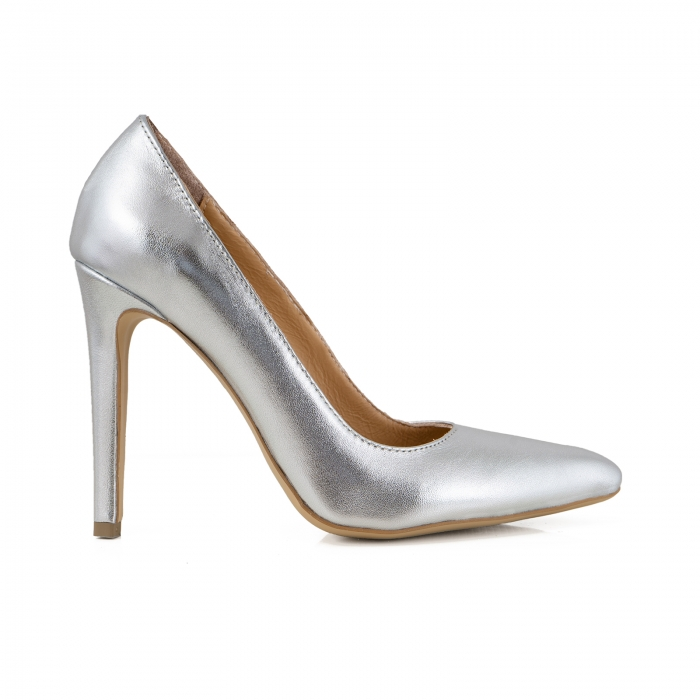Pantofi Stiletto din piele laminata argintie [0]