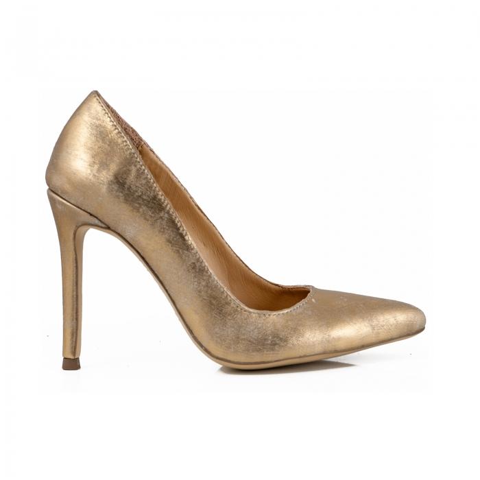 Pantofi Stiletto din piele laminata auriu patinat 0