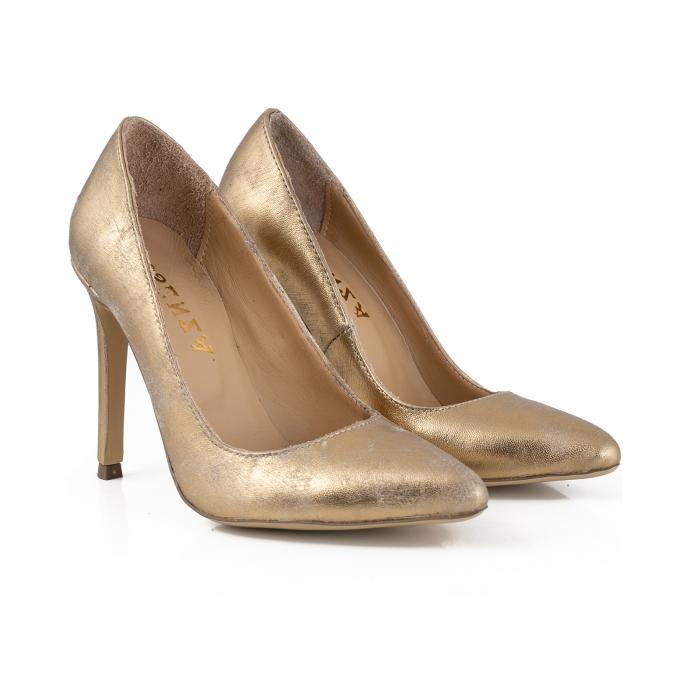 Pantofi Stiletto din piele laminata auriu patinat 2