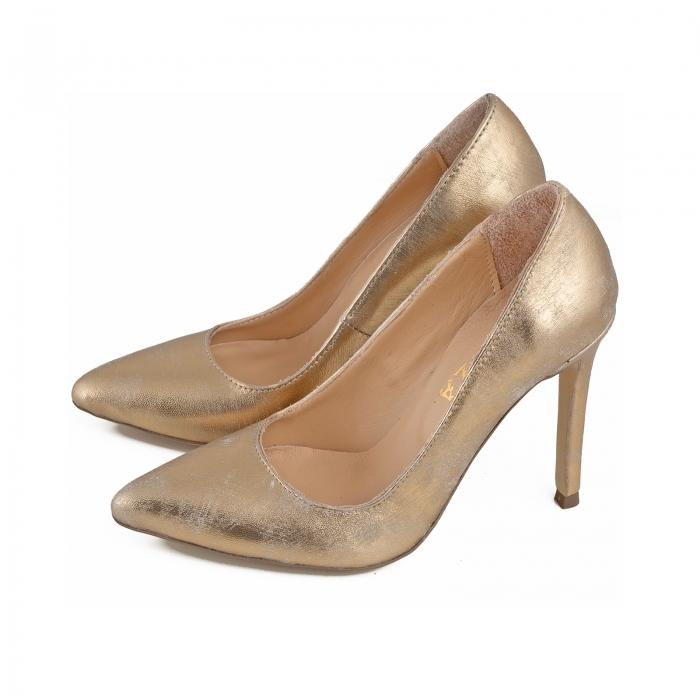 Pantofi Stiletto din piele laminata auriu patinat 1