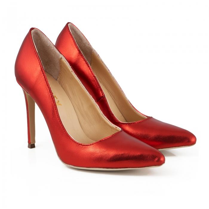 Pantofi Stiletto din piele laminata rosie 2