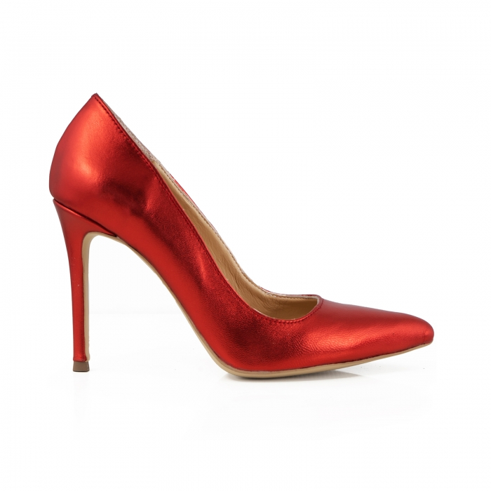 Pantofi Stiletto din piele laminata rosie 0