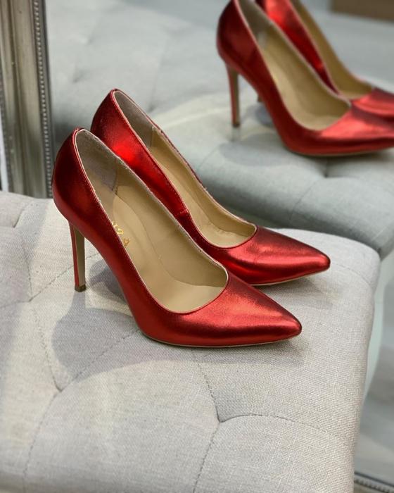 Pantofi Stiletto din piele laminata rosie, cu captusala din piele,si varf ascutit [0]