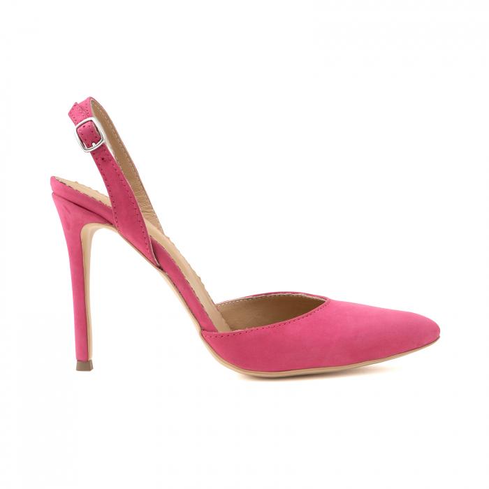 Pantofi stiletto din piele nabuc roz ciclam 0