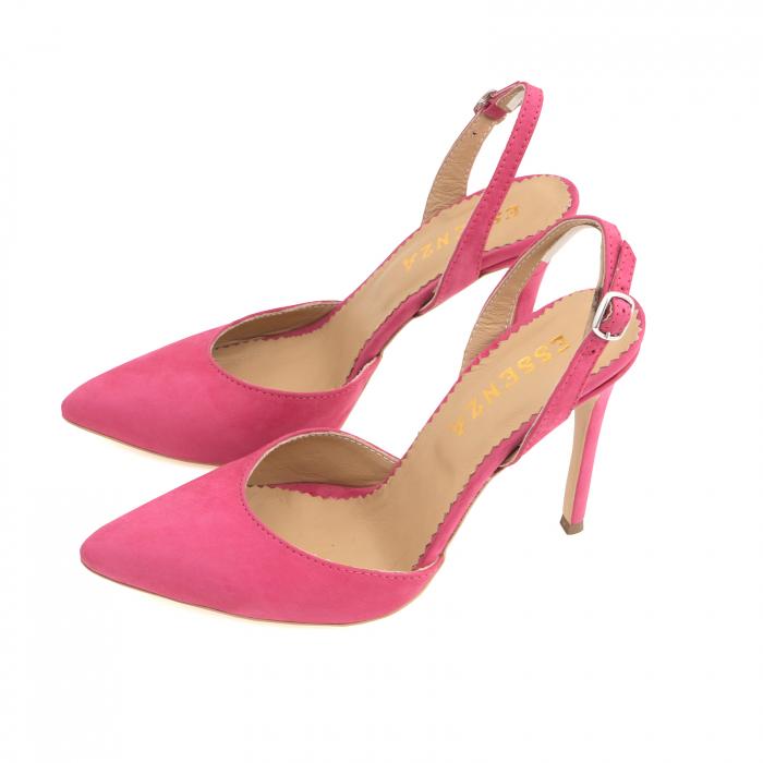 Pantofi stiletto din piele nabuc roz ciclam 1