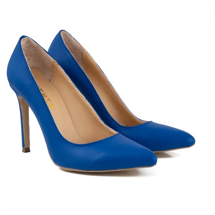Pantofi Stiletto din piele naturala albastra 2