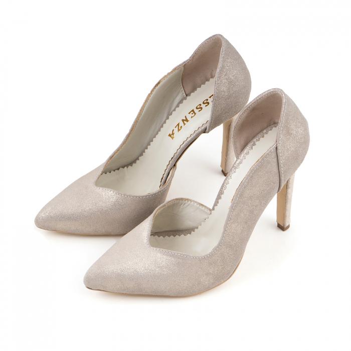 Pantofi stiletto din piele naturala auriu pal glitter 2