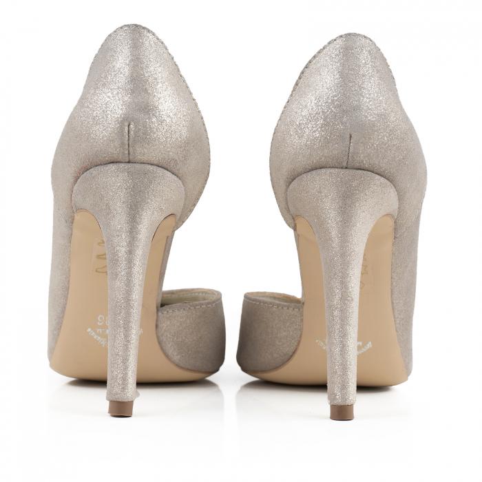 Pantofi stiletto din piele naturala auriu pal glitter 3
