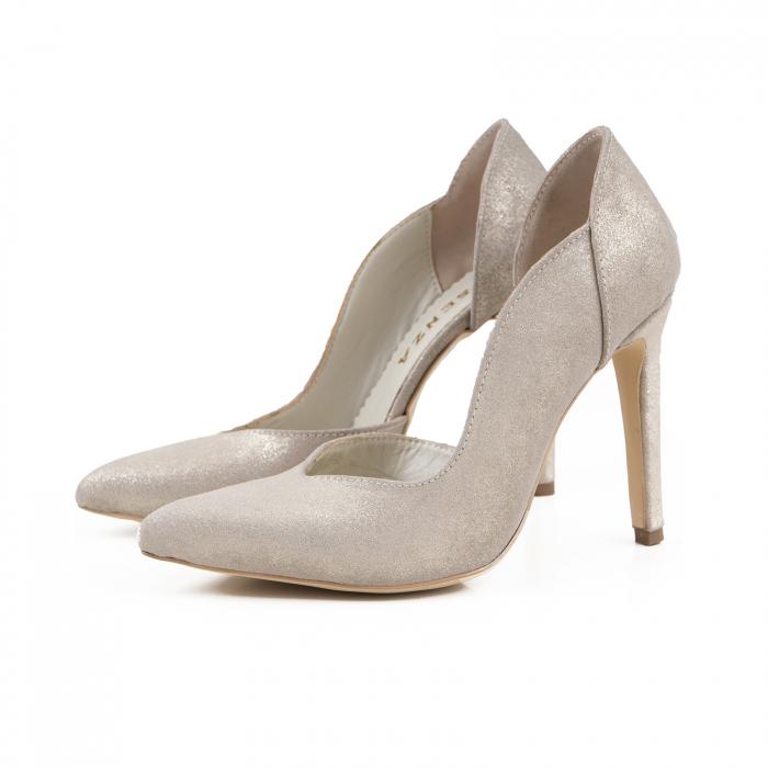 Pantofi stiletto din piele naturala auriu pal glitter 1