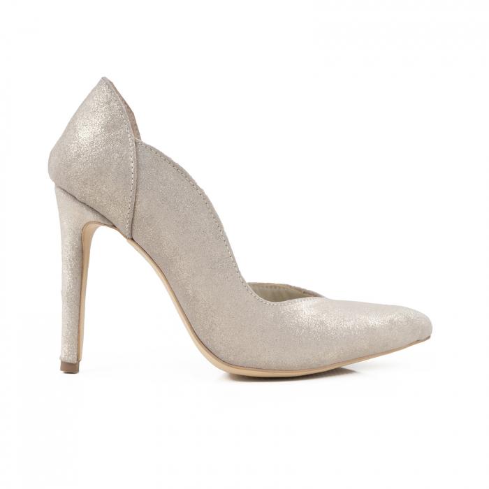 Pantofi stiletto din piele naturala auriu pal glitter 0