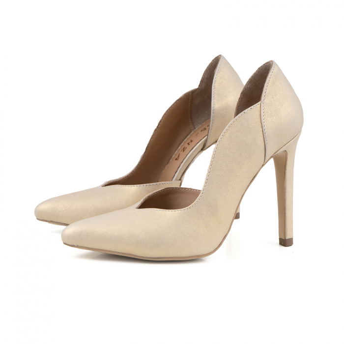Pantofi stiletto din piele naturala auriu patinat, 1