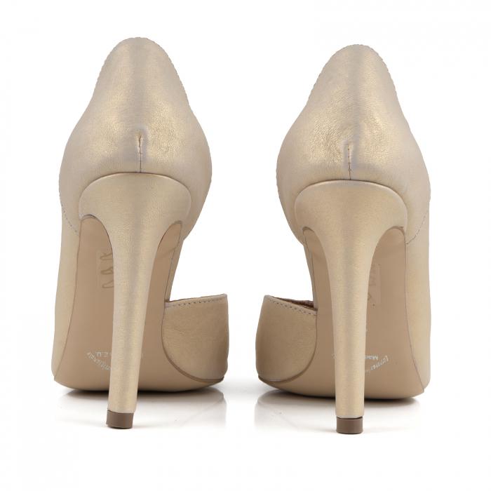 Pantofi stiletto din piele naturala auriu patinat, 3
