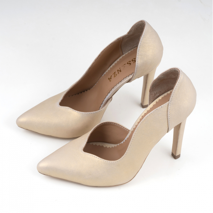 Pantofi stiletto din piele naturala auriu patinat, 2