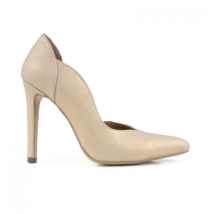 Pantofi stiletto din piele naturala auriu patinat, 0
