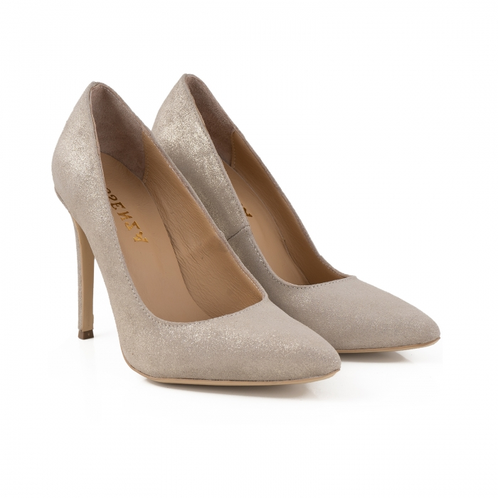 Pantofi Stiletto din piele naturala crem glitter 2