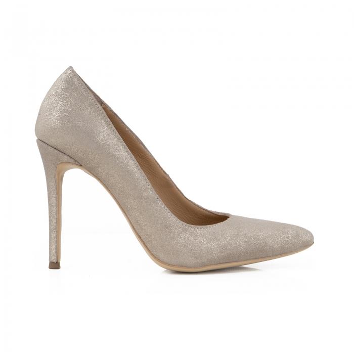 Pantofi Stiletto din piele naturala crem glitter 0